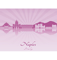Naples skyline in purple radiant orchid vector image vector image