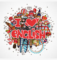 phrase i love english educational and travelling vector image