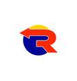 r letter arrow logo vector image vector image