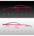red-metallic silhouette of the concept car vector image vector image