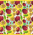 seamless pattern passion fruits exotic ornament vector image