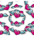 seamless pattern with winged hearts hand vector image vector image