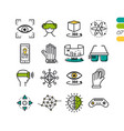 set linear virtual reality colored icons vector image vector image