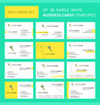 set of 12 search creative busienss card template vector image vector image