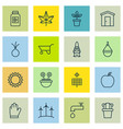 set of 16 agriculture icons includes autumn plant vector image