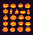 set of halloween scary pumpkins flat style spooky vector image vector image