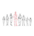 sketch businesspeople team stay on white vector image vector image