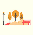 street lantern lamp and trees in urban park vector image