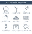 studio icons vector image vector image