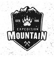 traveling and camping badge with mountains vector image vector image