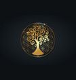 tree of life and flower of life gold mandala logo vector image vector image