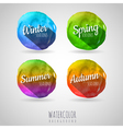 Watercolor abstract circles background Seasons vector image vector image