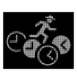 white halftone gentleman running over clocks icon vector image