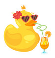 yellow rubber duck vector image vector image