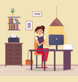 young business woman at desk is working vector image vector image