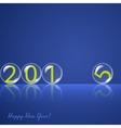 Transparent rolling glass balls on blue background vector image