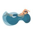 cartoon boy swimming in pool vector image