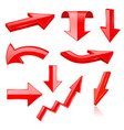 3d arrows red signs and symbols vector image