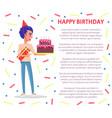 birthday party celebration man festive hat cake vector image vector image