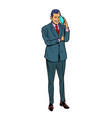 businessman speaks on a mobile phone vector image vector image