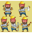cartoon disgruntled worker in the helmet vector image