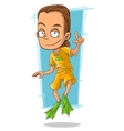 Cartoon handsome man in green flippers vector image