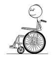 cartoon of smiling disabled man sitting on vector image