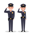 cartoon policeman and police woman salutes vector image