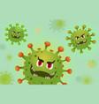coronavirus cells green concept in cartoon style vector image