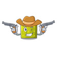 cowboy square character cartoon style vector image
