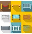 decorative fences icon set flat style vector image vector image
