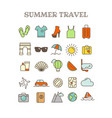 different thin line color icons set summer travel vector image