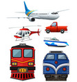 different types of transportation vector image vector image