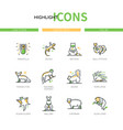 exotic pets - modern line design style icons set vector image vector image