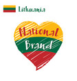 flag heart lithuania national brand vector image vector image