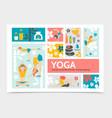 flat yoga and harmony infographic concept vector image vector image