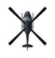flying black combat helicopter view from above vector image