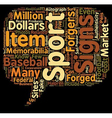 Forged Sports Memorabilia text background vector image vector image