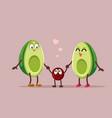 funny avocado family cartoon vector image vector image