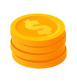 Gold stack of dollar coins in isometric style