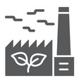 green factory glyph icon ecology and energy vector image vector image