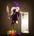 Halloween girl with pumpkin and broom vector image vector image
