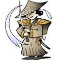 hand-drawn an japanese samurai vector image