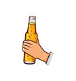 hand-drawn male hand holding opened beer bottle vector image vector image