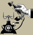 hand man with retro black phone vector image vector image
