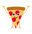 isolated happy slice of pizza emote vector image vector image