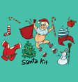 kit undressed funny santa and christmas items vector image vector image