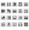 Media icons on gray squares vector image