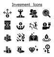 money investment icon set vector image vector image