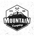 mountains camping badge isolated on white vector image vector image